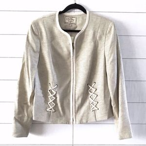 Lucky Brand Beige Cream Tweed Lace Up Jacket